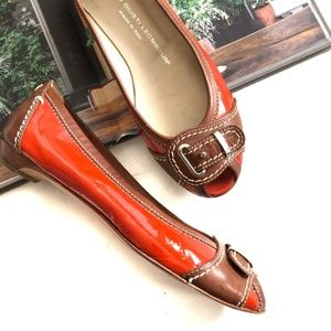 AGL Open Toe Patent Leather Buckle Flats